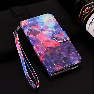 غطاء من أجل Samsung Galaxy S9 / S9 Plus / S8 Plus محفظة / حامل البطاقات / مع حامل غطاء كامل للجسم نموذج هندسي قاسي جلد PU