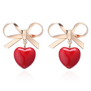 Žene Sitne naušnice crossover Srce Mašnice dame slatko Slatka Style Naušnice Jewelry Crvena Za Škola Izlasci 1 par