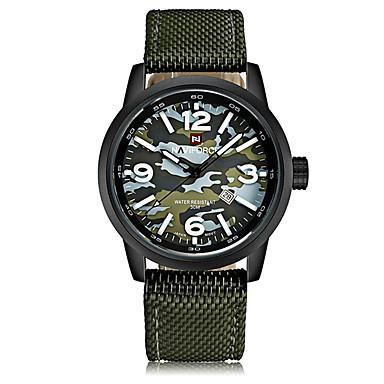 رخيصةأون ساعات الرجال-NAVIFORCE رجالي ساعة رياضية ساعة المعصم ياباني كوارتز ياباني نايلون أسود / جاد 30 m مقاوم للماء رزنامه كوول مماثل كاجوال موضة - أسود-أحمر أخضر