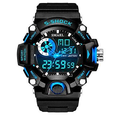 رخيصةأون ساعات الرجال-SMAEL رجالي ساعة رياضية ساعة رقمية ياباني رقمي أسود 30 m مقاوم للماء رزنامه ساعة التوقف تناظري-رقمي موضة - أسود-أحمر أسود / أزرق / قضية