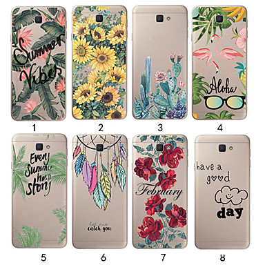 رخيصةأون حافظات / جرابات هواتف جالكسي J-غطاء من أجل Samsung Galaxy J7 (2017) / J7 (2016) / J5 (2017) نحيف جداً / شفاف غطاء خلفي النباتات ناعم TPU