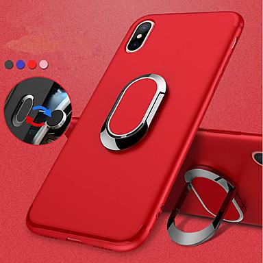 غطاء من أجل Apple iPhone X / iPhone 8 Plus / iPhone 8 حامل الخاتم / مثلج غطاء خلفي لون سادة ناعم TPU