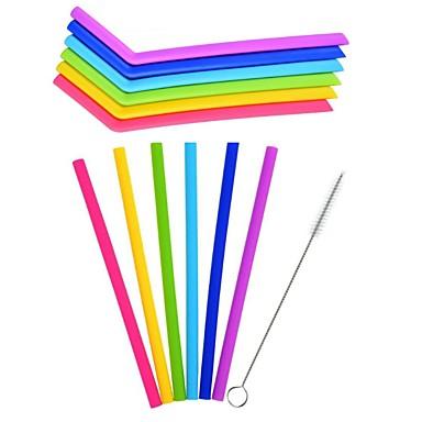 6pcs / lot višekratna silikonska slama slame slamke za kućnu zabavu pribor s čistim četkom set barware gadgete