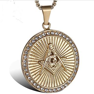 Muškarci Kubični Zirconia Ogrlice s privjeskom Sa stilom Graviranog Kreativan Moda Titanium Steel Zlato 60 cm Ogrlice Jewelry 1set Za Party Dnevno