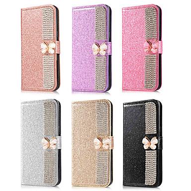 voordelige Galaxy Note-serie hoesjes / covers-hoesje Voor Samsung Galaxy Note 9 / Note 8 Portemonnee / Kaarthouder / Strass Volledig hoesje Vlinder / Glitterglans / Strass Hard PU-nahka