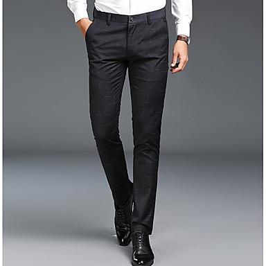Muškarci Osnovni Veći konfekcijski brojevi Dnevno Slim Odijelo Hlače - Jednobojni Pamuk Crn Tamno siva Navy Plava 34 36 35