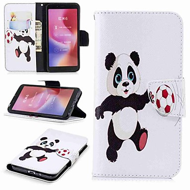 Недорогие Чехлы и кейсы для Xiaomi-Кейс для Назначение Xiaomi Redmi Note 5A / Xiaomi Redmi Note 5 Pro / Xiaomi Redmi Note 4X Кошелек / Бумажник для карт / со стендом Чехол Панда Твердый Кожа PU