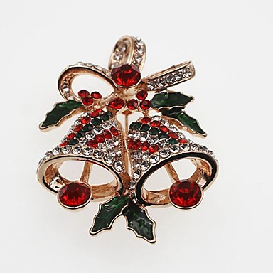نسائي دبابيس كلاسيكي Bell سيدات بسيط كلاسيكي حجر الراين بروش مجوهرات ذهبي فضي من أجل عيد الميلاد