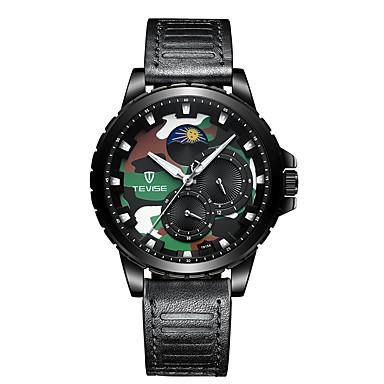 Tevise Heren mechanische horloges Japans Automatisch opwindmechanisme Echt leer Zwart / Bruin 30 m Waterbestendig Schattig s Nachts oplichtend Analoog Informeel Modieus - Zwart Goud Bruin / Maanfase