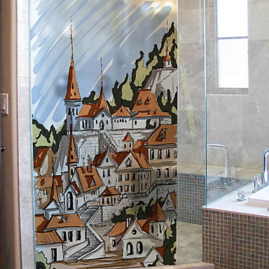 فيلم نافذة وملصقات زخرفة العادي مدن / شخصية PVC ملصق النافذة