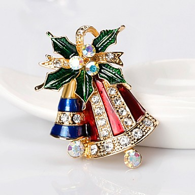 رخيصةأون بروشات-نسائي دبابيس كلاسيكي Bell سيدات بسيط أساسي حجر الراين بروش مجوهرات ذهبي من أجل عيد الميلاد