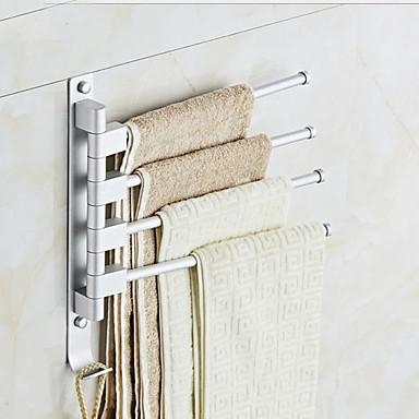 قضيب المنشفة تصميم جديد معاصر الالومنيوم 1PC شريط 4 منشفة مثبت على الحائط