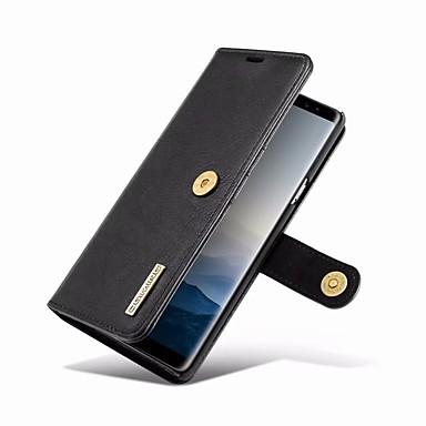 Недорогие Чехлы и кейсы для Galaxy Note-Кейс для Назначение SSamsung Galaxy Note 9 Кошелек / Бумажник для карт / со стендом Чехол Однотонный Твердый Настоящая кожа
