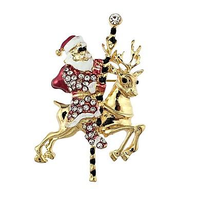 نسائي دبابيس كلاسيكي بدل سانتا سيدات أنيق كلاسيكي حجر الراين بروش مجوهرات ذهبي من أجل عيد الميلاد
