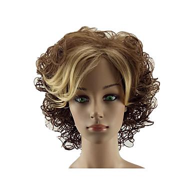 Sintetičke perike Kovrčav Srednji dio Perika Plavuša Kratko Tamno smeđa / zlatna plavuša Sintentička kosa 12 inch Žene Nježno Otporan na toplinu Žene Plavuša hairjoy