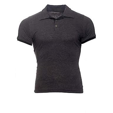 Veći konfekcijski brojevi Polo Muškarci - Posao / Osnovni Dnevno Pamuk Color block Kragna košulje Slim Crno i sivo Crn / Kratkih rukava / Ljeto