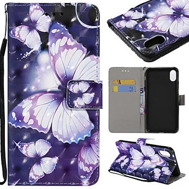 Θήκη Za Apple iPhone XS / iPhone XR / iPhone XS Max Utor za kartice / sa stalkom Korice Rukav leptir Tvrdo PU koža