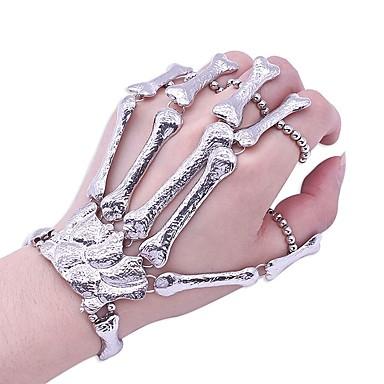 رخيصةأون أساور-نسائي أساور خاتم فينتاج جمجمة عبارة سيدات شائع كروم مجوهرات سوار فضي من أجل الهالووين هدية أزياء Cosplay
