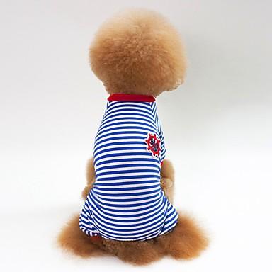 كلاب قطط منامة ملابس الكلاب أسود أحمر أزرق كوستيوم Bichon فرايز أفطس بكيني قطن مخطط كاجوال / يومي أسلوب بسيط S M L XL XXL