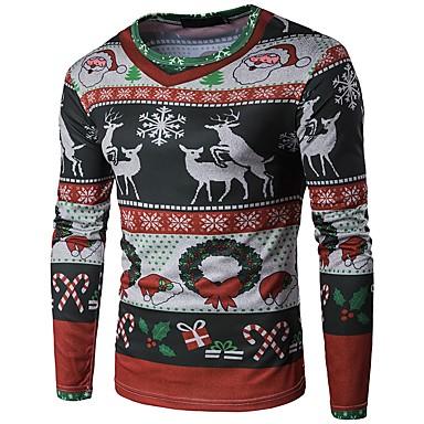Majica s rukavima Muškarci Božić / Dnevno Geometrijski oblici / Snowflake Okrugli izrez Crtani Djetelina / Dugih rukava / Jesen / Zima