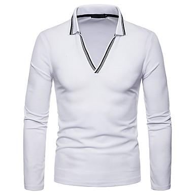 Polo Muškarci Dnevno Color block Kragna košulje Crn / Dugih rukava