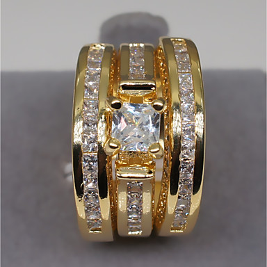 お買い得  指輪-カップル用 婚約指輪 ダイヤモンド キュービックジルコニア モイサナイト 1セット ゴールド シルバー 銅 ラインストーン 円形 不規則型 レディース スタイリッシュ ぜいたく 結婚式 婚約 ジュエリー 多層式 スタイリッシュ ソリティア クラウン