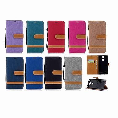 Недорогие Чехлы и кейсы для Sony-Кейс для Назначение Sony Xperia XZ1 Compact / Sony Xperia XZ1 / Sony Xperia XZ Premium Кошелек / Бумажник для карт / со стендом Чехол Однотонный Твердый текстильный