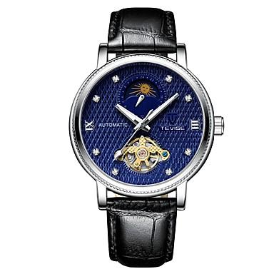 Tevise Heren mechanische horloges Japans Automatisch opwindmechanisme Echt leer Zwart 30 m Waterbestendig Hol Gegraveerd s Nachts oplichtend Analoog Informeel Modieus - Zwart Zwart / Blauw / Maanfase