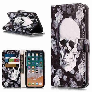 olcso iPhone 5 tokok-Case Kompatibilitás Apple iPhone XS / iPhone XR / iPhone XS Max Pénztárca / Kártyatartó / Állvánnyal Héjtok Koponya Kemény PU bőr