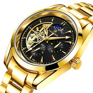 povoljno Muški satovi-Muškarci Par je Sat uz haljinu Mehanički Satovi Zlatni sat Japanski Automatski Nehrđajući čelik Srebro 30 m Vodootpornost Svijetli u mraku Velika kazaljka Analog Klasik Ležerne prilike Moda - Plava