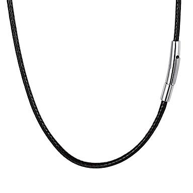 رخيصةأون القلائد-رجالي عقد جديلي موضة الفولاذ المقاوم للصدأ جلد أسود 55 cm قلادة مجوهرات 1PC من أجل هدية مناسب للبس اليومي