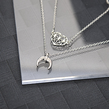 Žene Ogrlice s privjeskom Retro MOON Srce Polumjesec dame Jednostavan Vintage Legura Pink 52+6 cm Ogrlice Jewelry 2pcs Za Izlasci Rad