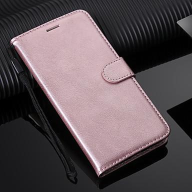 غطاء من أجل Samsung Galaxy J8 (2018) / J7 Duo / J7 Prime حامل البطاقات / مع حامل / قلب غطاء كامل للجسم لون سادة قاسي جلد PU