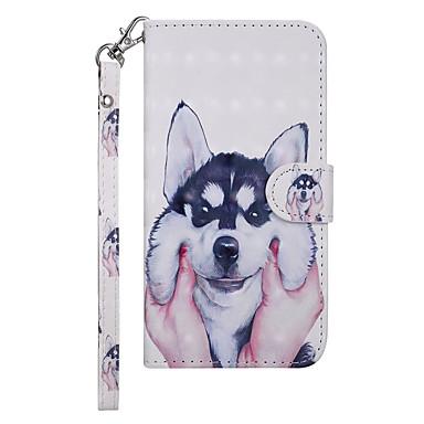 Недорогие Чехлы и кейсы для Nokia-Кейс для Назначение Nokia Nokia 5.1 Кошелек / Бумажник для карт / со стендом Чехол С собакой Твердый Кожа PU