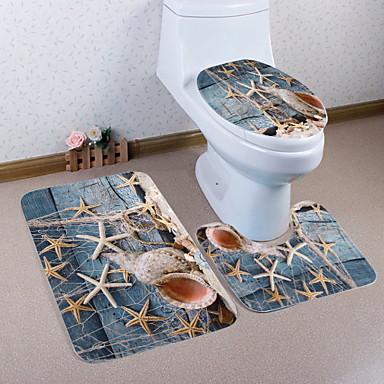 3 komada Moderna Prostirke za kupaonicu 100g / m2 poliester Knit Stretch Geometrijski oblici Neregularan Kupaonica New Design