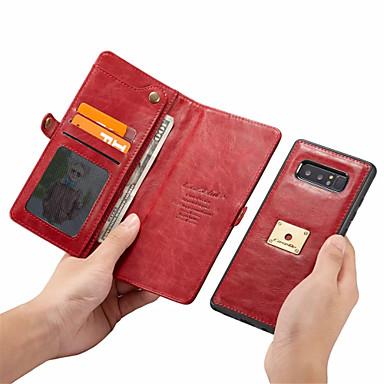 Недорогие Чехлы и кейсы для Galaxy Note-Кейс для Назначение SSamsung Galaxy Note 9 Кошелек / Бумажник для карт Чехол Однотонный Твердый Кожа PU для Note 9 / Note 8