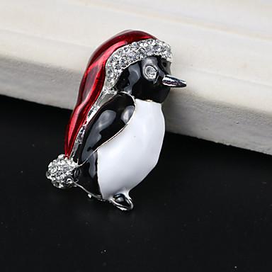 povoljno Broševi-Žene Kubični Zirconia Broševi Klasičan Penguin Ptica Klasik Crtići Slatka Style Broš Jewelry Crna / Crvena Za Božić Dnevno