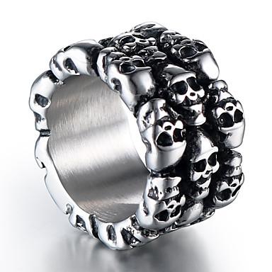 Muškarci Band Ring 1pc Srebro Titanium Steel Krug Stilski Vintage Punk Ulica Klub Jewelry Vintage Style Skulptura Lubanja Cool