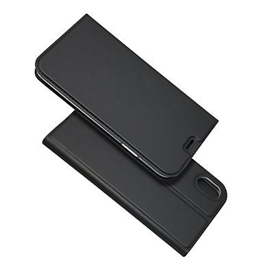 غطاء من أجل Apple iPhone XS / iPhone XR / iPhone XS Max حامل البطاقات / مع حامل / قلب غطاء كامل للجسم لون سادة قاسي جلد PU