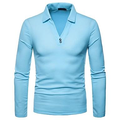 Polo Muškarci Dnevno Jednobojni Kragna košulje Navy Plava / Dugih rukava