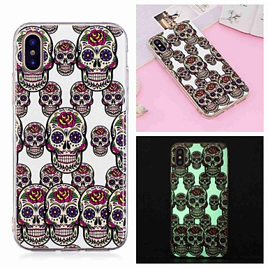 voordelige iPhone-hoesjes-hoesje Voor Apple iPhone XS / iPhone XR / iPhone XS Max Glow in the dark / Patroon Achterkant Doodskoppen Zacht TPU