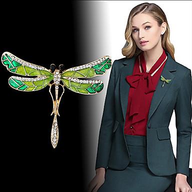 Žene Kubični Zirconia Broševi Vintage Style Dragonfly dame Personalized Jedinstven dizajn Korejski Moda Broš Jewelry Zelen Za Angažman Dar Večer stranka