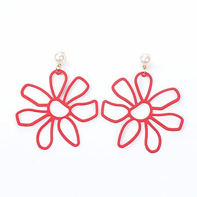 Žene Šupalj Viseće naušnice Naušnice Cvijet dame Jednostavan slatko Moda Jewelry Bijela / Crvena / Zelen Za Kauzalni Dnevno 1 par