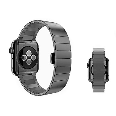 رخيصةأون قيود ساعات-ستانلس ستيل حزام حزام إلى Apple Watch Series 4/3/2/1 أسود / فضة / ذهبي 23CM / 9 بوصة 2.1cm / 0.83 Inches