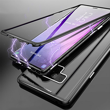 Недорогие Чехлы и кейсы для Galaxy Note-односторонний магнитный чехол для телефона samsung galaxy note 9 / note 8 полупрозрачные чехлы для корпуса из цельного закаленного стекла
