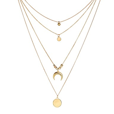 نسائي القلائد الطبقات متعدد الطبقات الطفو MOON الهلال قرن مزدوج سيدات موضة ستايل غجري سبيكة ذهبي 34+6 cm قلادة مجوهرات 1PC من أجل