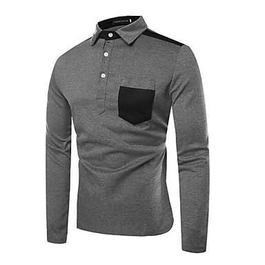 Polo Muškarci Dnevno Pamuk Color block Kragna košulje Tamno siva / Dugih rukava
