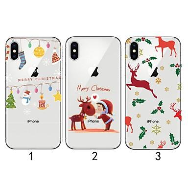 voordelige iPhone 6 hoesjes-hoesje Voor Apple iPhone XS / iPhone XR / iPhone XS Max Ultradun / Transparant / Patroon Achterkant Kerstmis Zacht TPU