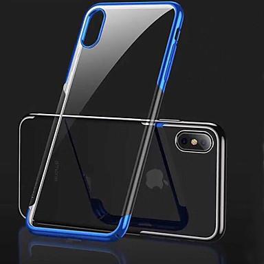 voordelige iPhone-hoesjes-hoesje Voor Apple iPhone XS / iPhone XR / iPhone XS Max Beplating / Transparant Achterkant Effen Zacht TPU