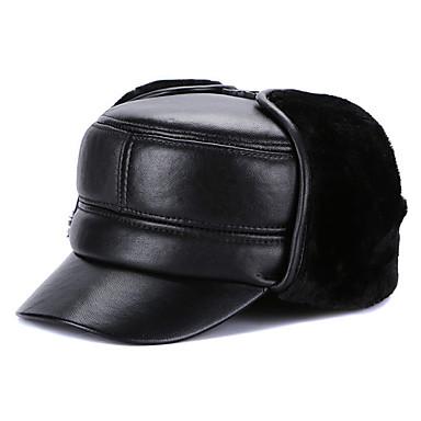 Muškarci Jednobojni Osnovni Ovčija koža-Kozačka kapa Crn